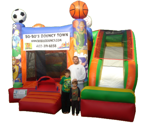 sports inflatable with slide